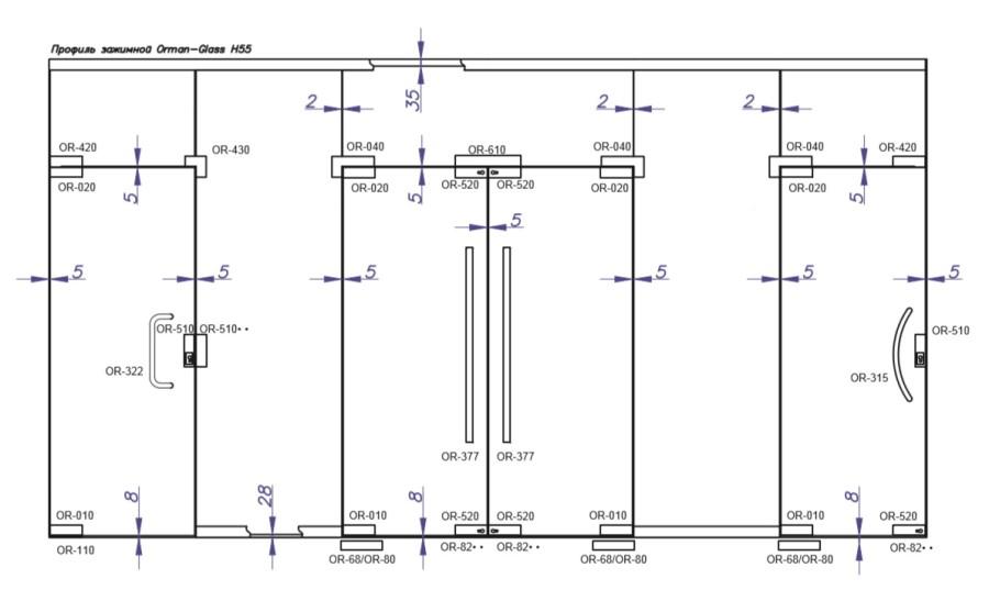 план расположения фурнитуры