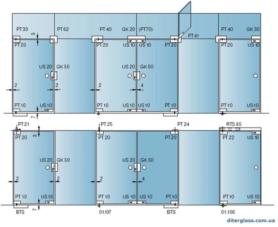план изготовления перегородки из стекла с фурнитурой