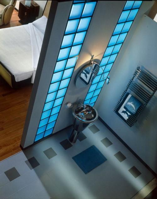 блоки из стекла в ванной