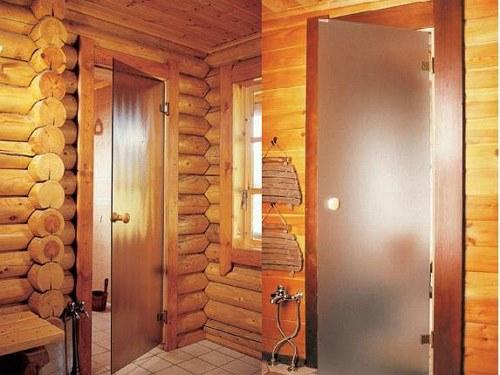 стеклянная дверь в баню