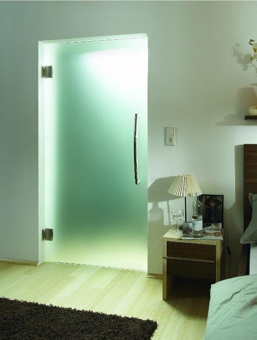 стеклянная матовая дверь в ванную